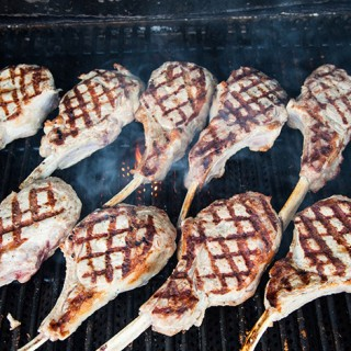 food - veal chops on grill